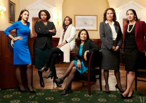 Shown are six of the 98 women sworn into congress, including Alexandria Oscasio-Cortez, Ayannay Pressley, Ilhan Omar,Deb Haaland, Veronica Escobar, and Sharice Davids, all of different races and religions.