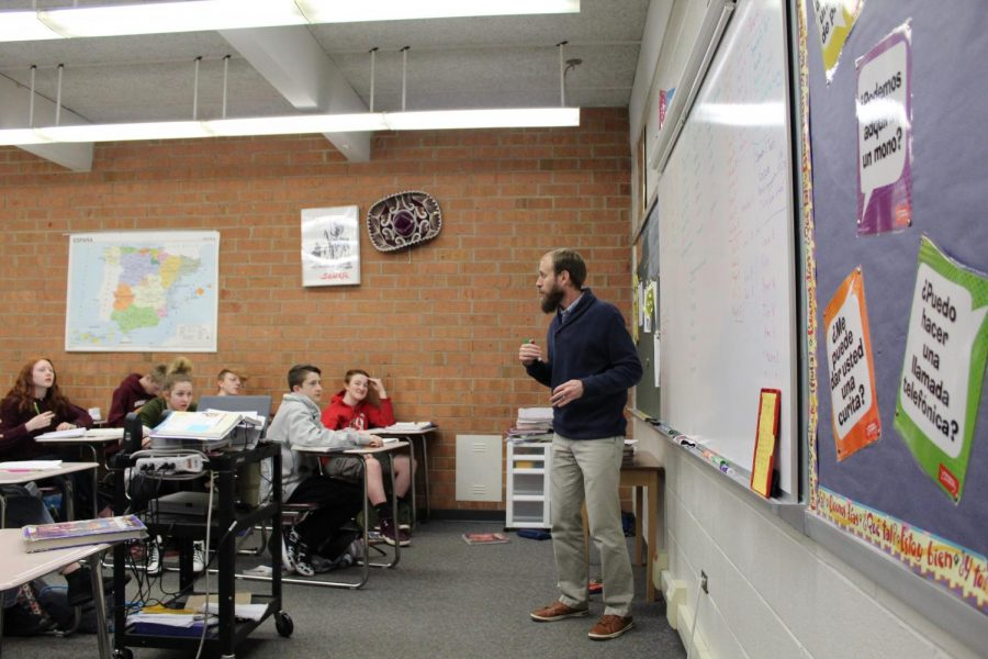 Teaching Spanish 1 and 2, Mr. Alley's classroom is where most Spanish learners get their start.